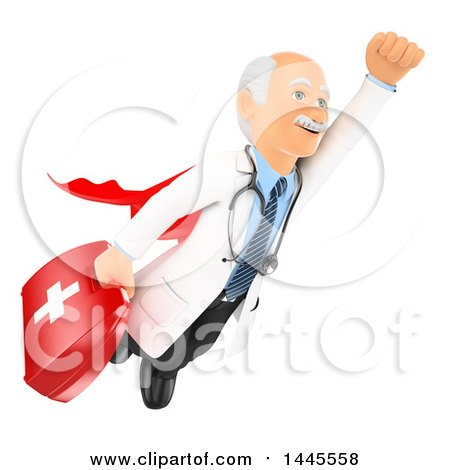 Clipart of a 3d Super Senior Caucasian Male Doctor or Veterinarian Flying with a First Aid Kit, on a White Background - Royalty Free Illustration by Texelart