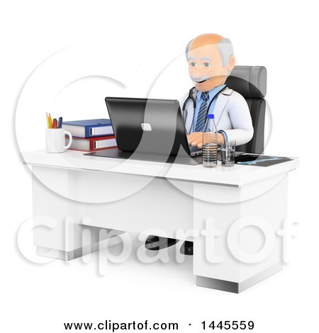 Clipart of a 3d Senior Caucasian Male Doctor or Veterinarian Using a Laptop in His Office, on a White Background - Royalty Free Illustration by Texelart