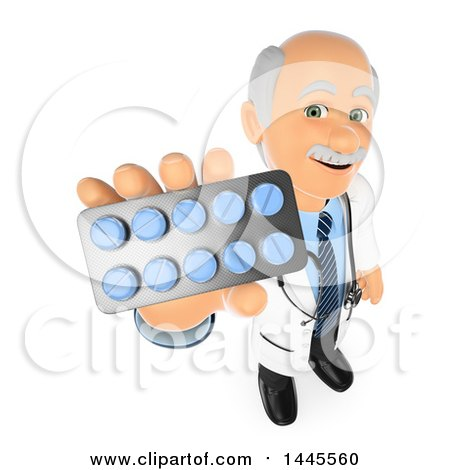 Clipart of a 3d Senior Caucasian Male Doctor or Veterinarian Holding up a Packet of Pills, on a White Background - Royalty Free Illustration by Texelart