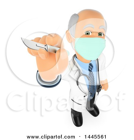 Clipart of a 3d Senior Caucasian Male Surgeon Doctor or Veterinarian Holding up a Scalpel, on a White Background - Royalty Free Illustration by Texelart