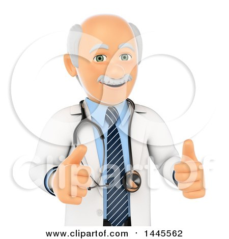 Clipart of a 3d Senior Caucasian Male Doctor or Veterinarian Giving Two Thumbs Up, on a White Background - Royalty Free Illustration by Texelart