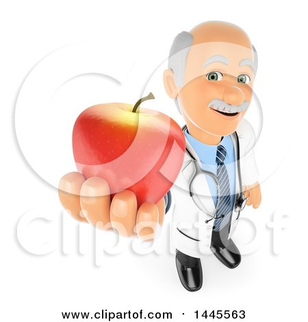 Clipart of a 3d Senior Caucasian Male Doctor or Nutritionist Holding up an Apple, on a White Background - Royalty Free Illustration by Texelart