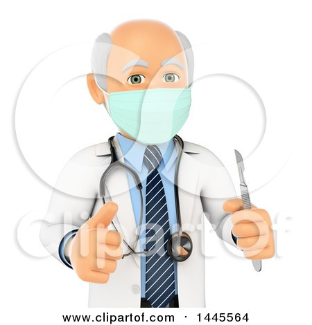 Clipart of a 3d Senior Caucasian Male Surgeon Doctor or Veterinarian Giving a Thumb up and Holding a Scalpel, on a White Background - Royalty Free Illustration by Texelart
