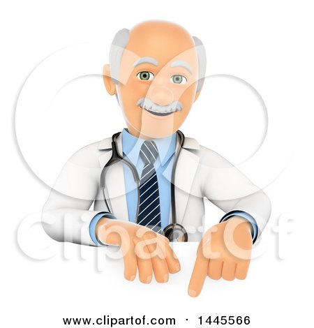 Clipart of a 3d Senior Caucasian Male Doctor Pointing over a Sign, on a White Background - Royalty Free Illustration by Texelart