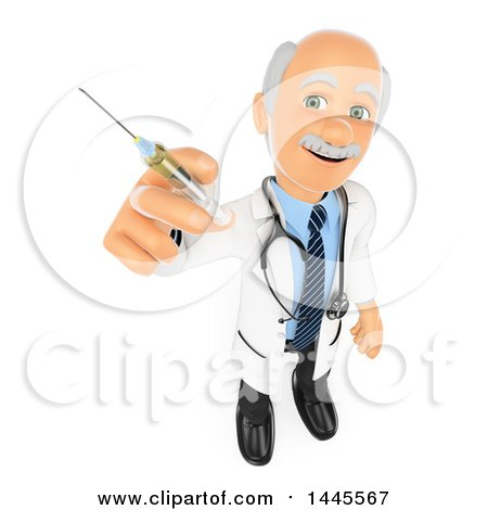 Clipart of a 3d Senior Caucasian Male Doctor or Veterinarian Holding up a Vaccine Syringe, on a White Background - Royalty Free Illustration by Texelart