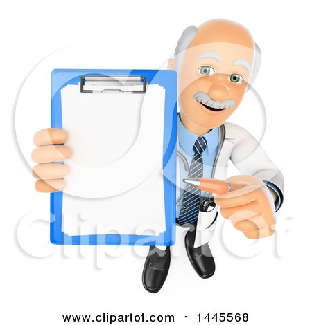 Clipart of a 3d Senior Caucasian Male Doctor or Veterinarian Holding up a Clipboard, on a White Background - Royalty Free Illustration by Texelart