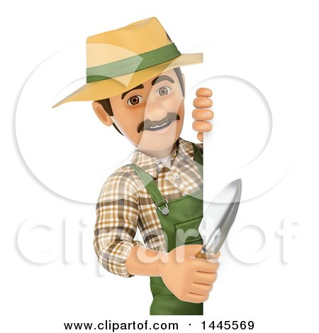 Clipart of a 3d Male Landscaper or Gardener Holding a Hand Spade Around a Sign, on a White Background - Royalty Free Illustration by Texelart