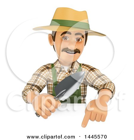 Clipart of a 3d Male Landscaper or Gardener Holding a Hand Spade over a Sign, on a White Background - Royalty Free Illustration by Texelart