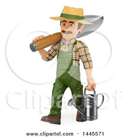 Clipart of a 3d Male Landscaper or Gardener Carrying a Giant Spade and Watering Can, on a White Background - Royalty Free Illustration by Texelart