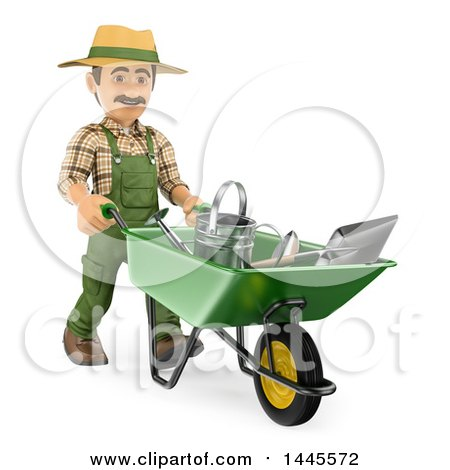 Clipart of a 3d Male Landscaper or Gardener Pushing Tools in a Wheelbarrow, on a White Background - Royalty Free Illustration by Texelart