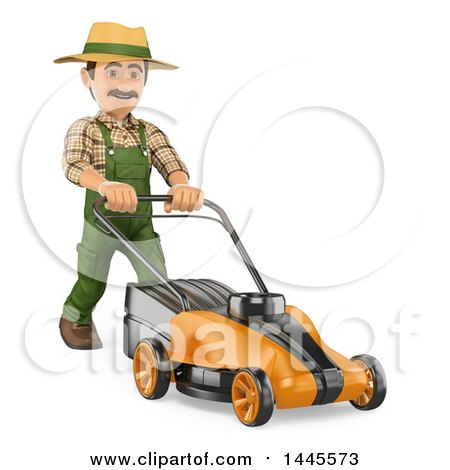 Clipart of a 3d Male Landscaper or Gardener Pushing a Lawn Mower, on a White Background - Royalty Free Illustration by Texelart