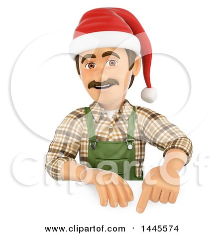 Clipart of a 3d Male Landscaper or Gardener Wearing a Christmas Santa Hat and Pointing down over a Sign, on a White Background - Royalty Free Illustration by Texelart