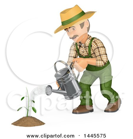 Clipart of a 3d Male Landscaper or Gardener Watering a Seedling, on a White Background - Royalty Free Illustration by Texelart