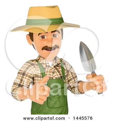 Clipart of a 3d Male Landscaper or Gardener Holding a Hand Spade and Giving a Thumb Up, on a White Background - Royalty Free Illustration by Texelart