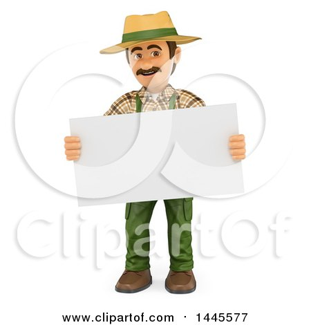 Clipart of a 3d Male Landscaper or Gardener Holding a Blank Sign, on a White Background - Royalty Free Illustration by Texelart