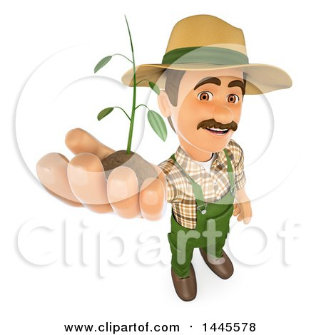 Clipart of a 3d Male Landscaper or Gardener Holding up a Seedling Plant, on a White Background - Royalty Free Illustration by Texelart