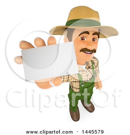 Clipart of a 3d Male Landscaper or Gardener Holding up a Blank Business Card, on a White Background - Royalty Free Illustration by Texelart
