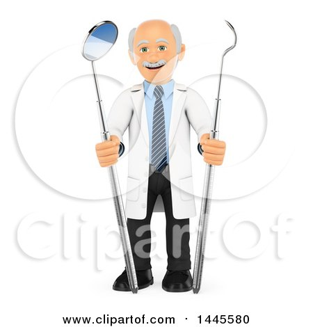 Clipart of a 3d Senior Caucasian Male Dentist with Peridontal Scaler and Mirror Tools, on a White Background - Royalty Free Illustration by Texelart