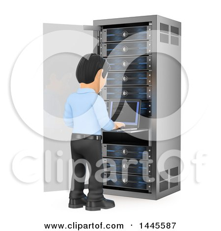 Clipart of a 3d Male Information Technology Technician Working on a Server Rack, on a White Background - Royalty Free Illustration by Texelart