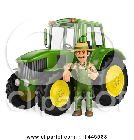 3d Male Farmer Leaning on a Tractor, on a White Background Posters, Art Prints