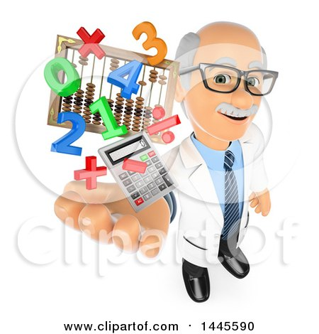 3d Senior Caucasian Male Math Teacher Holding up a Calculator, Numbers, Symbols and an Abacus, on a White Background Posters, Art Prints