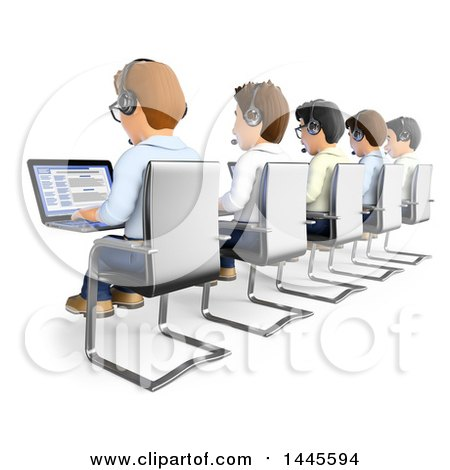 Clipart of a 3d Line of Call Center Business Men Working, on a White Background - Royalty Free Illustration by Texelart