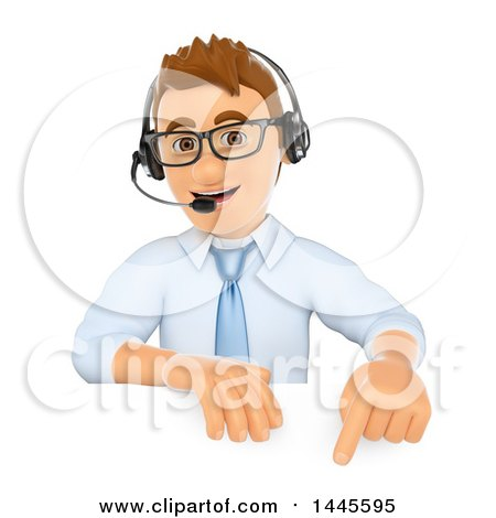 Clipart of a 3d Call Center Business Man Wearing a Headset and Pointing down over a Sign, on a White Background - Royalty Free Illustration by Texelart