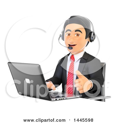Clipart of a 3d Business Man Wearing a Headset, Giving a Thumb up and Using a Laptop, on a White Background - Royalty Free Illustration by Texelart