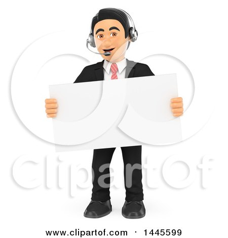 Clipart of a 3d Business Man Wearing a Headset and Holding a Blank Sign, on a White Background - Royalty Free Illustration by Texelart