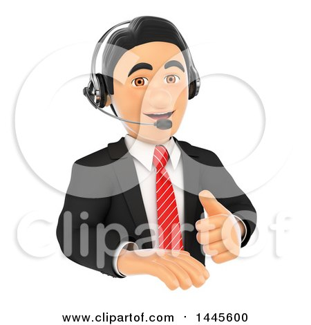 Clipart of a 3d Business Man Wearing a Headset and Giving a Thumb up over a Sign, on a White Background - Royalty Free Illustration by Texelart