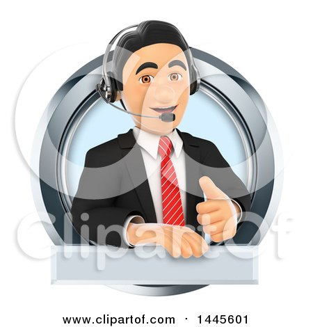 Clipart of a 3d Business Man Wearing a Headset, Giving a Thumb up and Emerging from a Circle, on a White Background - Royalty Free Illustration by Texelart