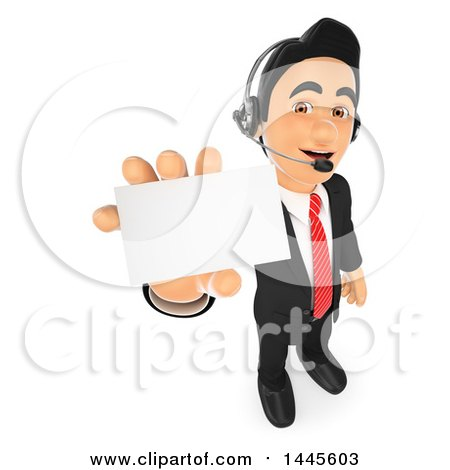 Clipart of a 3d Business Man Wearing a Headset and Holding out a Business Card, on a White Background - Royalty Free Illustration by Texelart