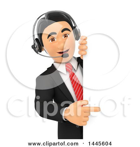 Clipart of a 3d Business Man Wearing a Headset and Pointing Around a Sign, on a White Background - Royalty Free Illustration by Texelart