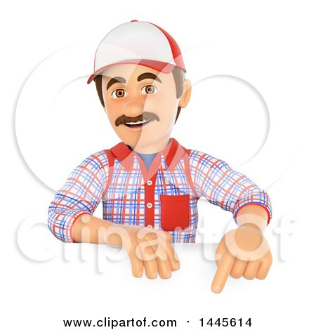 3d Handyman Pointing down over a Sign, on a White Background Posters, Art Prints
