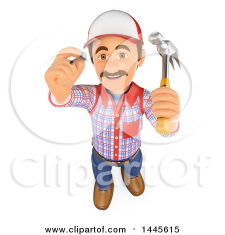 3d Handyman Hammering a Nail, on a White Background Posters, Art Prints