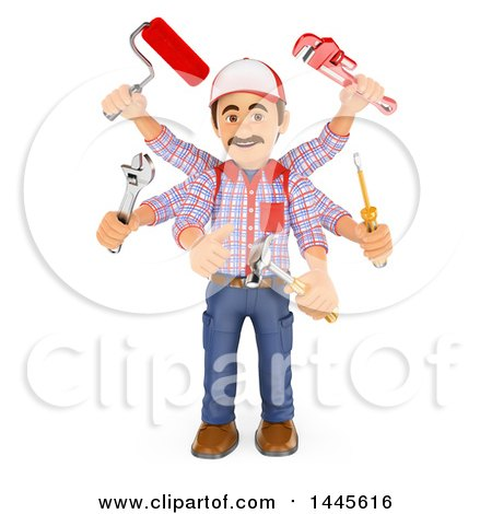 Clipart of a 3d Multitasking Handyman with Six Arms, on a White Background - Royalty Free Illustration by Texelart
