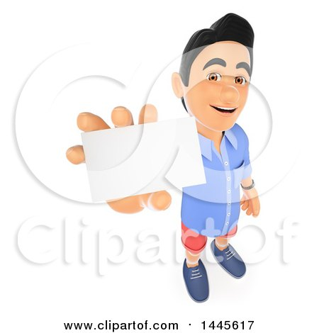 Clipart of a 3d Casual Man Holding up a Business Card, on a White Background - Royalty Free Illustration by Texelart