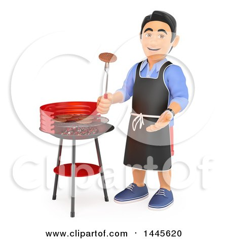 Clipart of a 3d Casual Man Grilling on a Barbeque, on a White Background - Royalty Free Illustration by Texelart