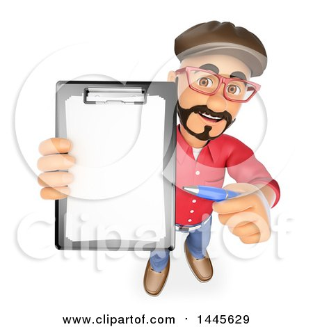 Clipart of a 3d Male Movie Director Holding up a Contract, on a White Background - Royalty Free Illustration by Texelart