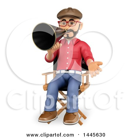 Clipart of a 3d Male Movie Director Sitting in a Chair and Speaking Through a Megaphone, on a White Background - Royalty Free Illustration by Texelart