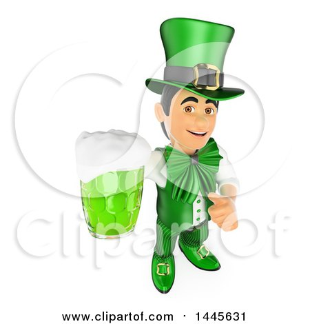 Clipart of a 3d St Patricks Day Man Holding up a Green Beer and a Thumb, on a White Background - Royalty Free Illustration by Texelart