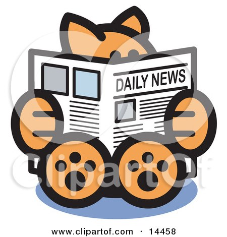 Smart Ginger Cat Sitting And Reading The Newspaper Clipart Illustration by Andy Nortnik