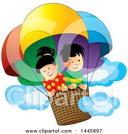 Clipart of a Happy Boy and Girl in a Colorful Hot Air Balloon - Royalty Free Vector Illustration by Lal Perera