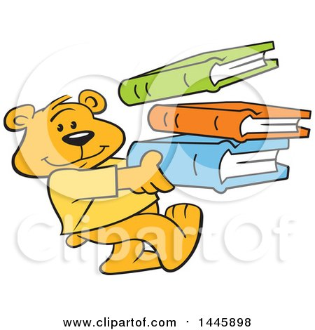 Clipart of a Cartoon Bear Cub Mascot Carrying a Stack of Books - Royalty Free Vector Illustration by Johnny Sajem