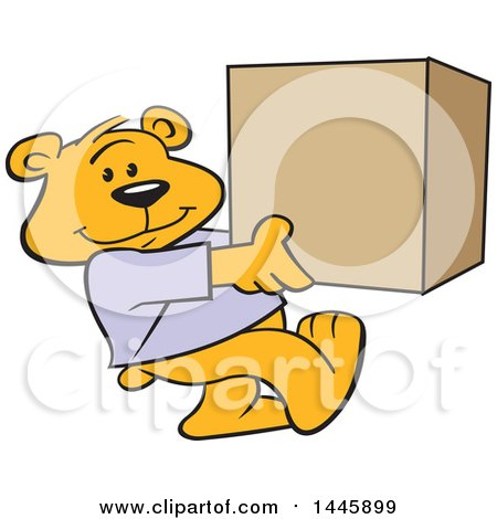 Clipart of a Cartoon Bear Mascot Carrying a Box - Royalty Free Vector Illustration by Johnny Sajem