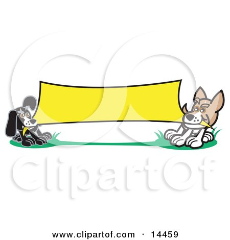 Two Dogs Playing Tug of War With a Blank Yellow Banner Clipart Illustration by Andy Nortnik
