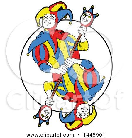 Clipart of a Mirrored Joker Design - Royalty Free Vector Illustration by Frisko