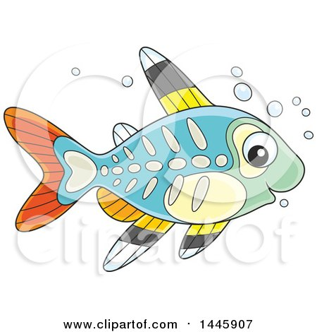 Clipart of a Cartoon Cute Xray Fish - Royalty Free Vector Illustration by Alex Bannykh