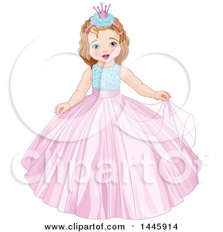 Clipart of a Cute Princess Girl - Royalty Free Vector Illustration by Pushkin