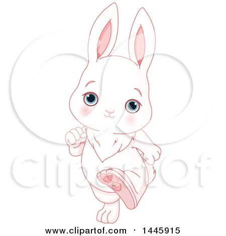 Clipart of a Cute Blue Eyed, White Baby Bunny Rabbit Running Upright - Royalty Free Vector Illustration by Pushkin